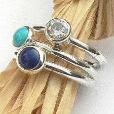 Handgemaakte zilveren aanschuifringen Amigas set met lapis lazuli, turkoois en zirkonia