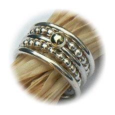 Zilveren set Amigas ringen met gouden bal