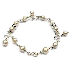 Handgemaakte zilveren armband parels Blancanieves by Flamenco