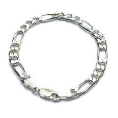 Brede zilveren figaro-armband voor mannen