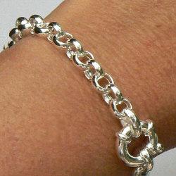 Zilveren jasseron armband met siersluiting
