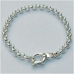 Zilveren jasseron armband met grote veerring