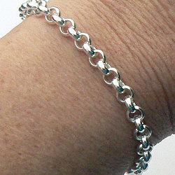 Zilveren jasseron-armband met siersluiting