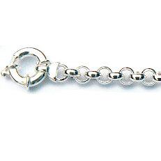 Zilveren jasseron collier met grote veerring siersluiting