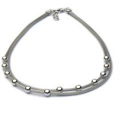 Modern zilveren dubbel collier met ballen