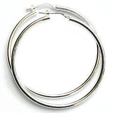 Zilveren creolen 50 mm hefboomsluiting