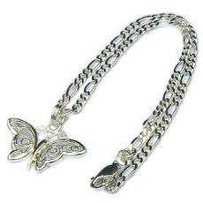 Zilveren enkelbandje vlinder filigrain