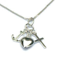 Zilveren hanger geloof hoop liefde