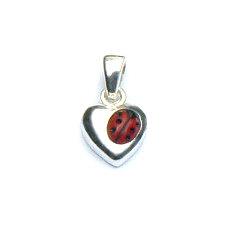 Zilveren hangertje hart lieveheersbeestje