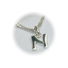 Zilveren hanger letter N