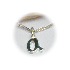 Zilveren hanger letter Q