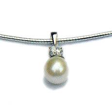 Zilveren hanger parel zirkonia