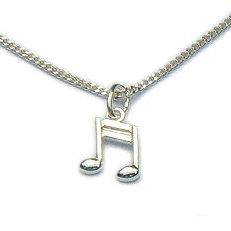Zilveren hanger muzieknoot met of zonder ketting