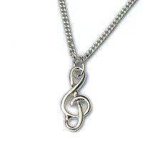 Zilveren hanger G-sleutel