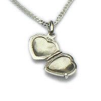 Zilveren hanger medaillon hart binnenkant