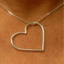 Zilveren hanger massief hart groot