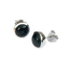 Ronde zilveren oorstekers met grote onyx