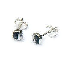 Zilveren oorknopjes yin yang