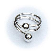Handgemaakte zilveren ring met ballen