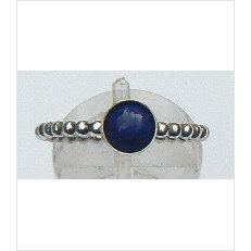 Zilveren aanschuifring Amiga pareldraad lapis lazuli 6 mm