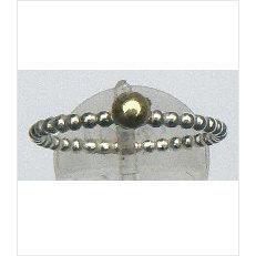 Zilveren aanschuifring Amigas pareldraad met bal goud 4 mm