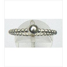 Zilveren aanschuifring Amigas pareldraad met bal 4 mm
