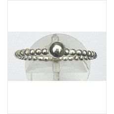 Zilveren aanschuifring Amigas pareldraad met bal 4.5 mm