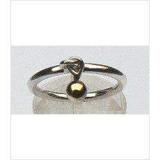 Zilveren aanschuifring Amigas bengelbal goud 4 mm
