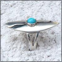 Handgemaakte zilveren ring turkoois La luz van flamencosieraden.nl