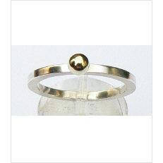 Zilveren aanschuifring Amigos gouden balletje 4 mm