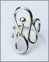 Handgemaakte zilveren design ring massief