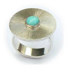 Handgemaakte zilveren ring El sombrero met turkoois