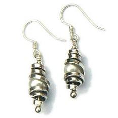 Handgemaakte zilveren oorhangers Agua clara by Flamenco