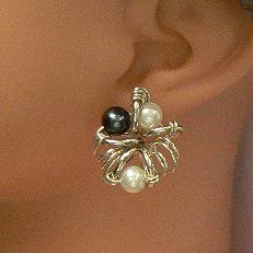 Handgemaakte zilveren oorstekers Belleza del arte