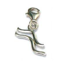 Handgemaakte zilveren bedel hanger Waterman