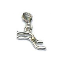 Handgemaakte zilveren bedel hanger met goud Waterman
