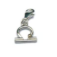 Handgemaakte zilveren bedel hanger met goud Weegschaal