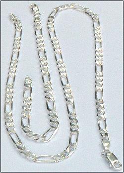 Brede zilveren figaro-ketting met armband voor mannen