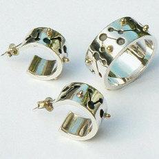 Handgemaakte zilveren ring Carnaval met oorstekers Bolero