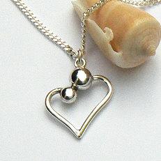 Zilveren hanger hart moeder kind