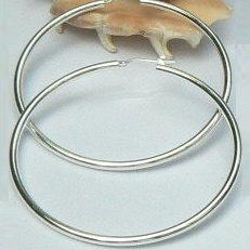 Zilveren creolen groot oorringen hefboom 60 mm 2.5 mm