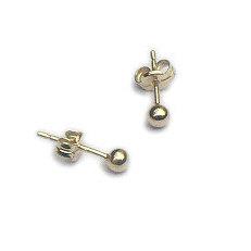 Gouden oorstekers ballen 3 mm