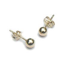 Gouden oorstekers ballen 4 mm