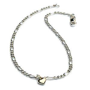 Zilveren figaro enkelbandje met gouden hartje