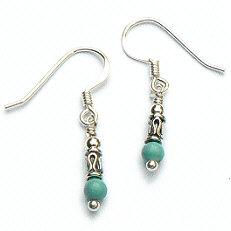 Zilveren oorhangers turkoois