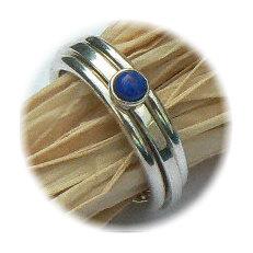 Zilveren set aanschuifringen Amigos Amigas met lapis lazuli