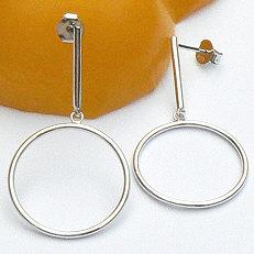 Zilveren oorhangers staafjes met ringen