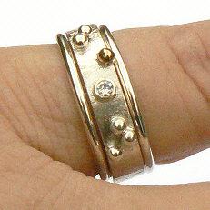 Handgemaakte zilveren ring met goud Sueño met 2 aanschuifringen van flamencosieraden.nl