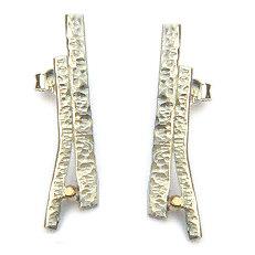 Handgemaakte zilveren oorstekers met goud Selva tropical