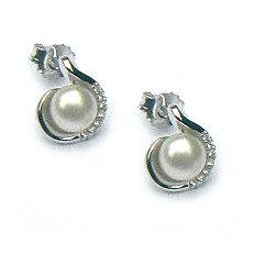 Zilveren oorstekers parels zirkonia